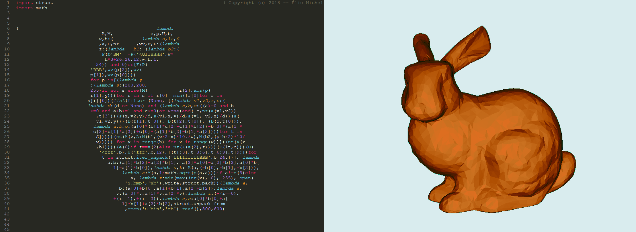 Obfuscated Python Bunny Calligram